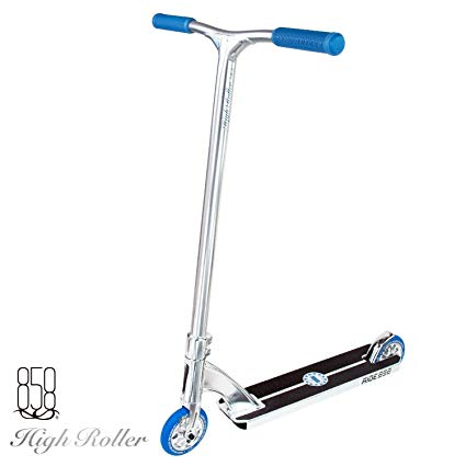 High Roller Scooter With Forged Neck Tube To Avoid Breaks + Light Strong Deck With Patent Reinforced Aluminium Bar For The Ultimate Performance By Ride 858 (CHROME/BLUE)